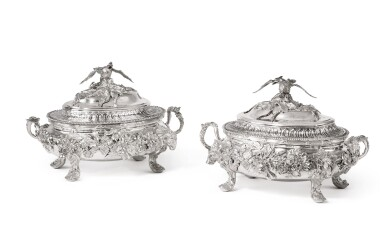 View 1. Thumbnail of Lot 192. TWO MATCHING GEORGIAN SILVER SMALL TUREENS AND COVERS, WILLIAM CRIPPS AND PARKER & WAKELIN, LONDON, 1757 AND 1770.