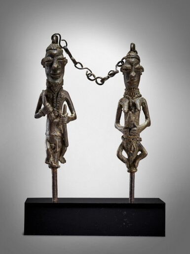 View 1. Thumbnail of Lot 71. Pair of Yoruba Ogboni Edan Figures, Nigeria.