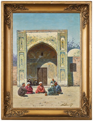 View 2. Thumbnail of Lot 23. RICHARD KARLOVICH ZOMMER | SCHOLARS IN FRONT OF A MADRASA.
