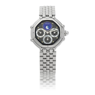 GERALD GENTA  | SUCCESS, REF G.3374.7   STAINLESS STEEL LAPIS LAZULI AND MOTHER-OF-PEARL PERPETUAL CALENDAR WRISTWATCH WITH LEAP-YEAR INDICATION AND MOON PHASES   CIRCA 2000