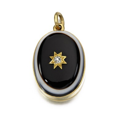 View 1. Thumbnail of Lot 299. Banded agate and diamond pendant, 1861.
