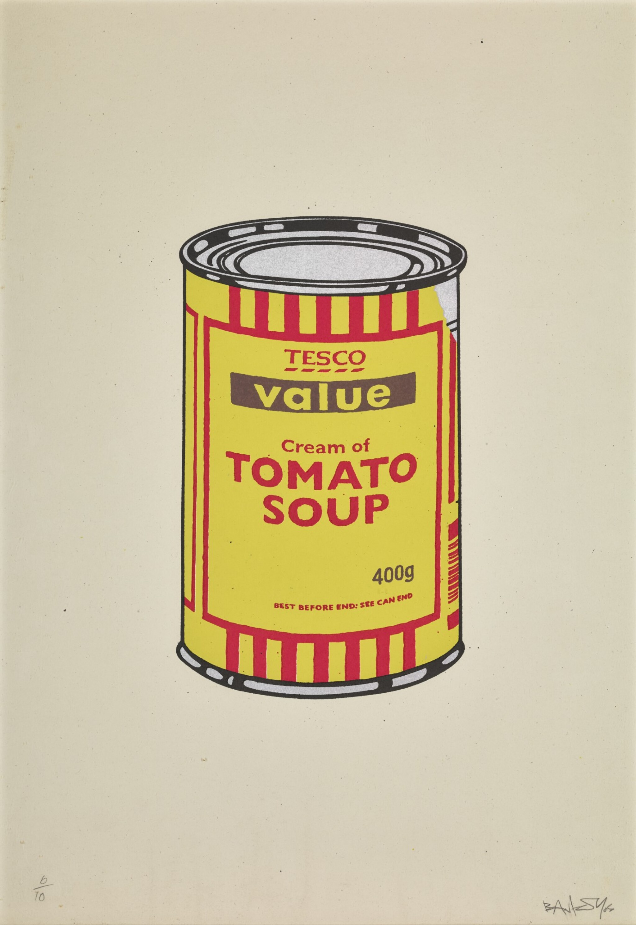 View full screen - View 1 of Lot 24. BANKSY   SOUP CAN (YELLOW AND RED).