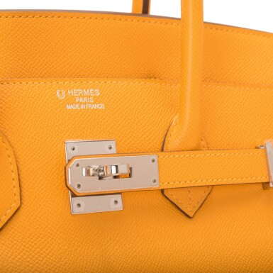 View 6. Thumbnail of Lot 15. Hermès Horseshoe Stamped (HSS) Bi-color Jaune D'Or and Sanguine Birkin 35cm of Epsom Leather with Palladium Hardware.