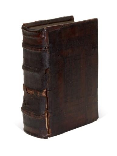 View 4. Thumbnail of Lot 110. Dutch Prototypographer, Inventory, single sheet, [Utrecht, 1460s], in binding of Eck, Homiliarius, 1536-1540.