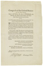 Jefferson, Thomas. Printed document signed, being a Post Office Act, 1791