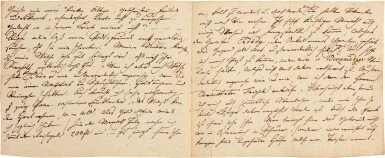 View 2. Thumbnail of Lot 62. F. Schubert. Autograph letter to his brother Ferdinand, 4 pages, Zseliz, 1818.
