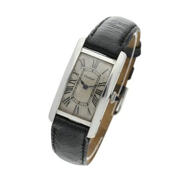 View 2. Thumbnail of Lot 222. Tank Cintrée A rare platinum and yellow gold rectangular wristwatch, Circa 1925 .
