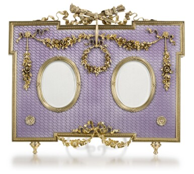 View 1. Thumbnail of Lot 31. A Fabergé gold-mounted, silver-gilt and guilloché enamel double-frame, workmaster Victor Aarne, St Petersburg, circa 1890.