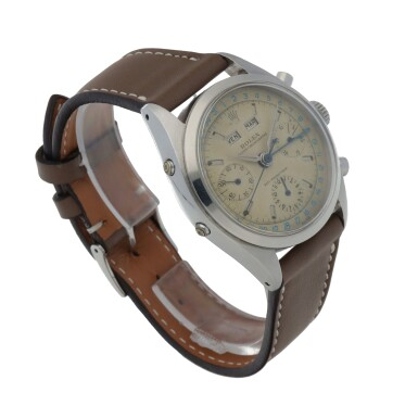 View 3. Thumbnail of Lot 18. 'JEAN-CLAUDE KILLY' DATO-COMPAX, REF 6236 STAINLESS STEEL TRIPLE CALENDAR CHRONOGRAPH WRISTWATCH CIRCA 1958 [勞力士6236型號「'JEAN-CLAUDE KILLY' DATO-COMPAX」精鋼全日曆計時腕錶,年份約1958].