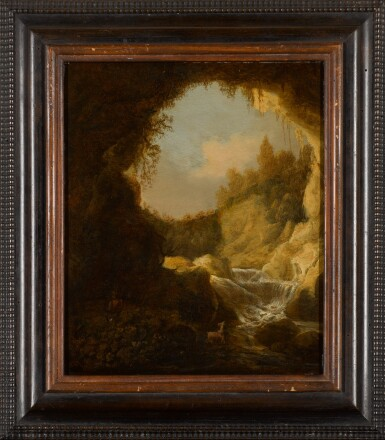 View 2. Thumbnail of Lot 34. ATTRIBUTED TO KATHERINA VAN KNIBBERGEN | A grotto with a mountain stream.