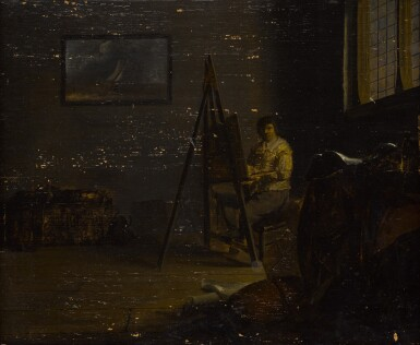 View 2. Thumbnail of Lot 24. An interior with an artist at his easel .