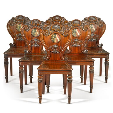 View 1. Thumbnail of Lot 71. A set of six George IV carved mahogany hall chairs, circa 1822, in the manner of Gillows.