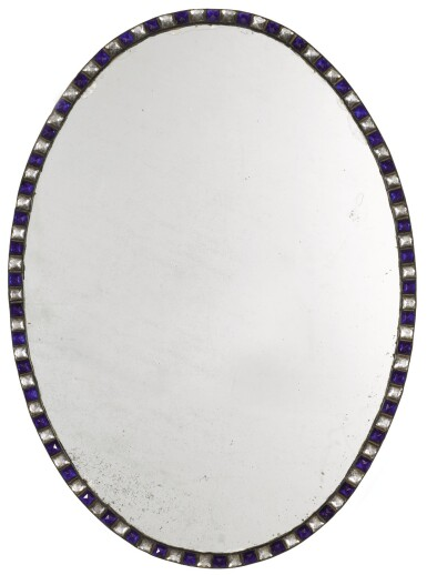 View 2. Thumbnail of Lot 102. A PAIR OF IRISH BLUE AND CLEAR GLASS BORDERED OVAL MIRRORS, GLASS ELEMENTS POSSIBLY LATE 18TH/EARLY 19TH CENTURY.