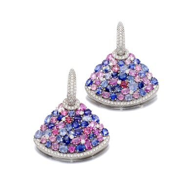 View 1. Thumbnail of Lot 44. MICHELE DELLA VALLE | GEM SET AND DIAMOND EARRINGS.