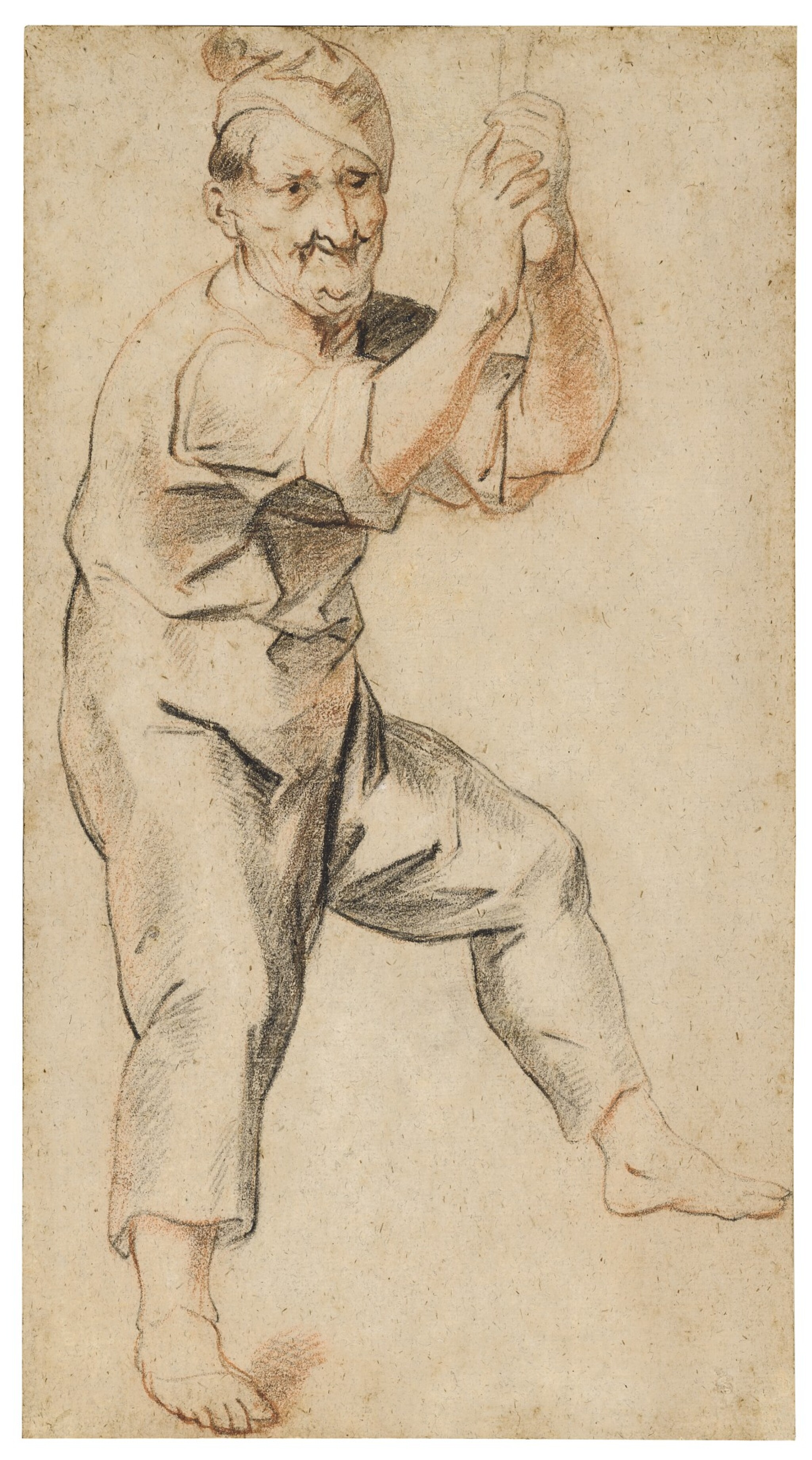 View full screen - View 1 of Lot 24. Study of a man holding a bell rope.