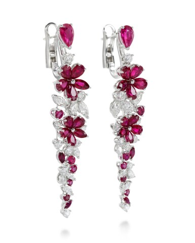 View 2. Thumbnail of Lot 318. GRAFF   PAIR OF RUBY AND DIAMOND EARRINGS, 'CARISSA'.