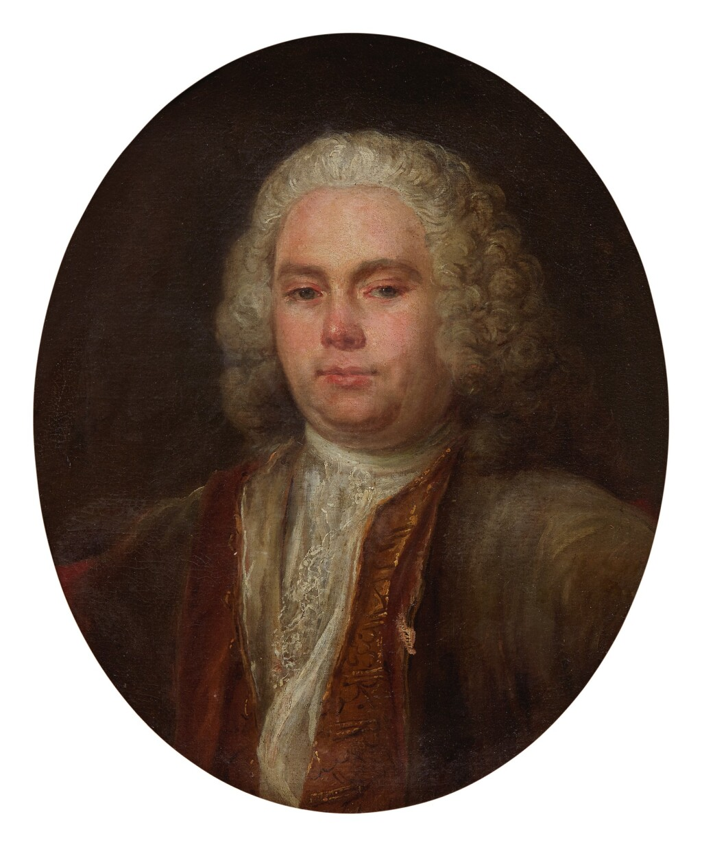 FRENCH SCHOOL, CIRCA 1750   PORTRAIT OF A GENTLEMAN, BUST LENGTH, WEARING A GREY AND RED COAT, WITH A WHITE CHEMISE