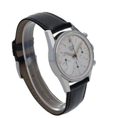View 3. Thumbnail of Lot 48. HEUER | CARRERA 12, REF 2447T STAINLESS STEEL CHRONOGRAPH WRISTWATCH  CIRCA 1965.
