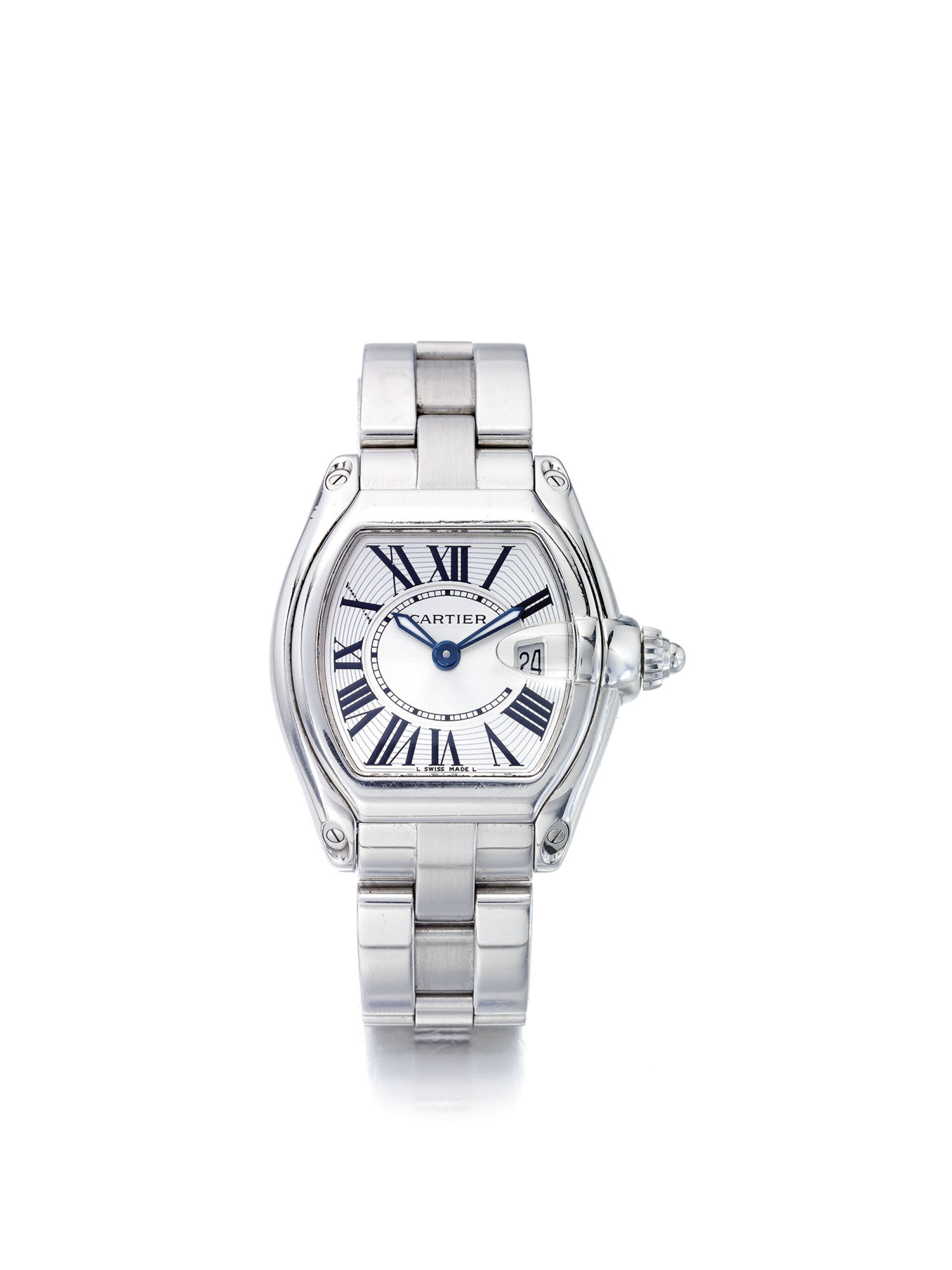 CARTIER | ROADSTER REF 2675,  A LADY'S STAINLESS STEEL WRISTWATCH WITH DATE AND BRACELET CIRCA 2000