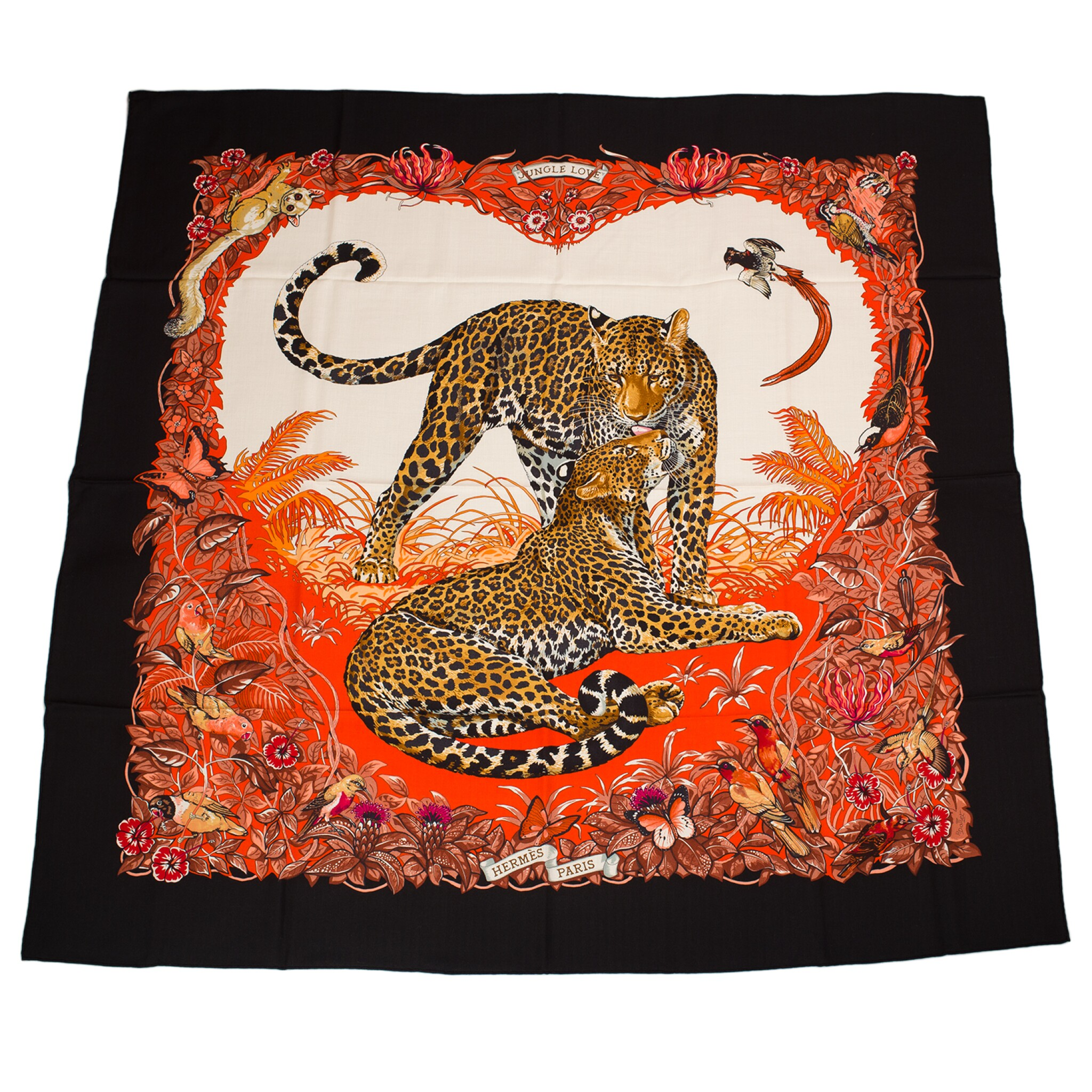 """View full screen - View 1 of Lot 68. Hermès """"Jungle Love"""" Cashmere and Silk Shawl 140cm."""