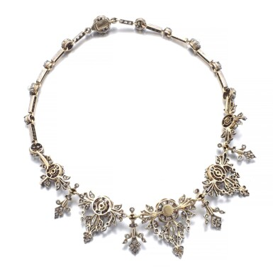 View 3. Thumbnail of Lot 1238. Diamond necklace/tiara, circa 1880.
