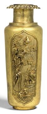 A SMALL GILT-BRONZE VASE QING DYNASTY, 18TH CENTURY | 清十八世紀 鎏金銅開光山水花鳥紋瓶