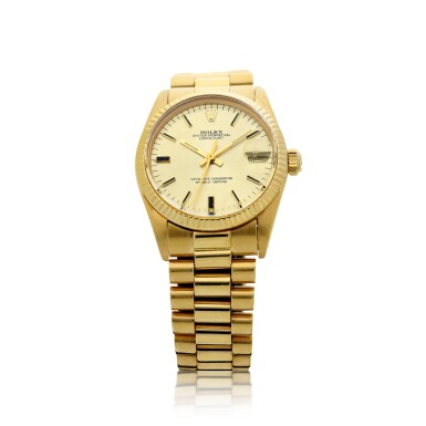 View 1. Thumbnail of Lot 81. REFERENCE 6827 DATEJUST A YELLOW GOLD AUTOMATIC WRISTWATCH WITH DATE AND BRACELET, CIRCA 1979.