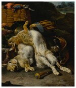 A brace of rabbits and small birds with hunting equipment in a landscape