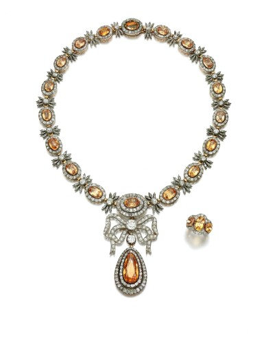 View 2. Thumbnail of Lot 150. TOPAZ AND DIAMOND PARURE, 19TH CENTURY AND LATER.