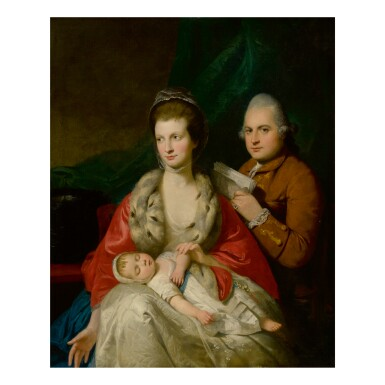 MASON CHAMBERLIN, R.A. | PORTRAIT OF A FAMILY: THE MAN HOLDING A MANUSCRIPT AND SEATED BEHIND HIS WIFE, WHO WEARS AN ERMINE COAT AND HOLDS HER SLEEPING INFANT
