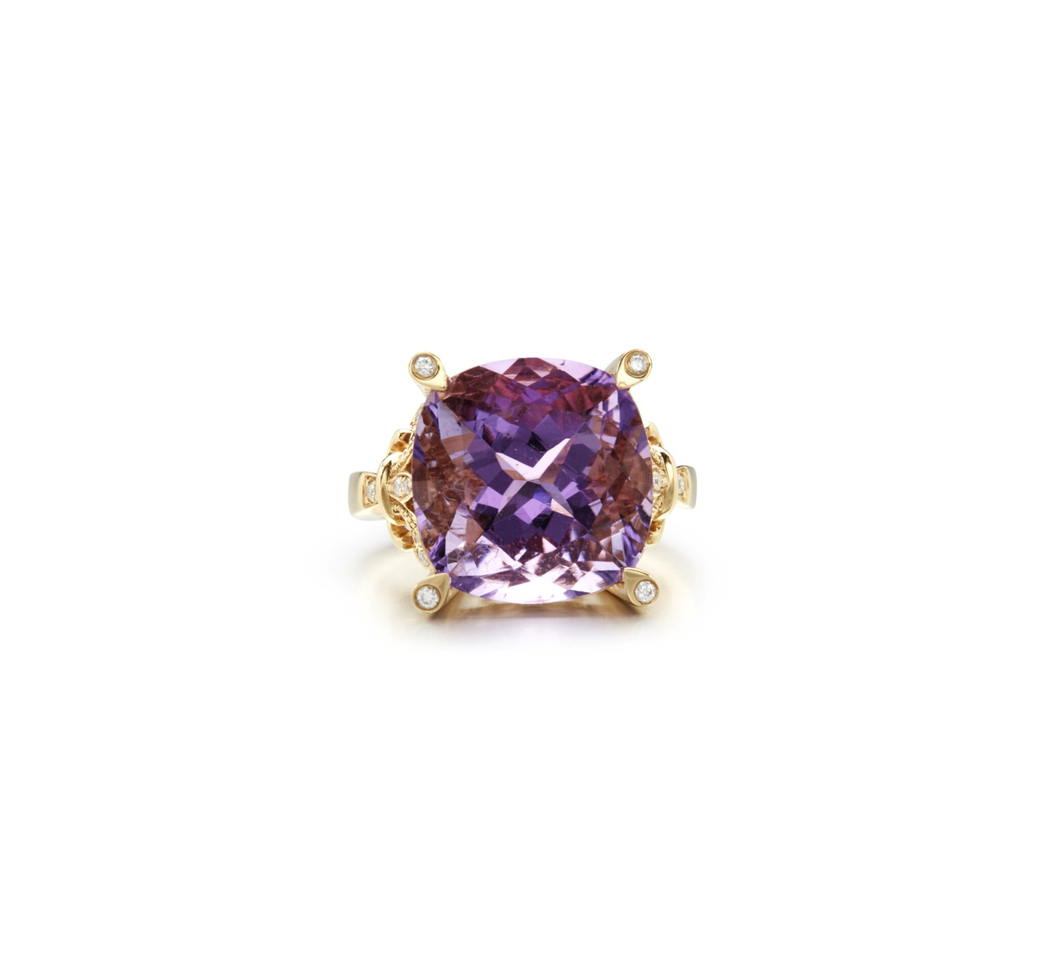 View full screen - View 1 of Lot 16. AMETHYST AND DIAMOND RING.