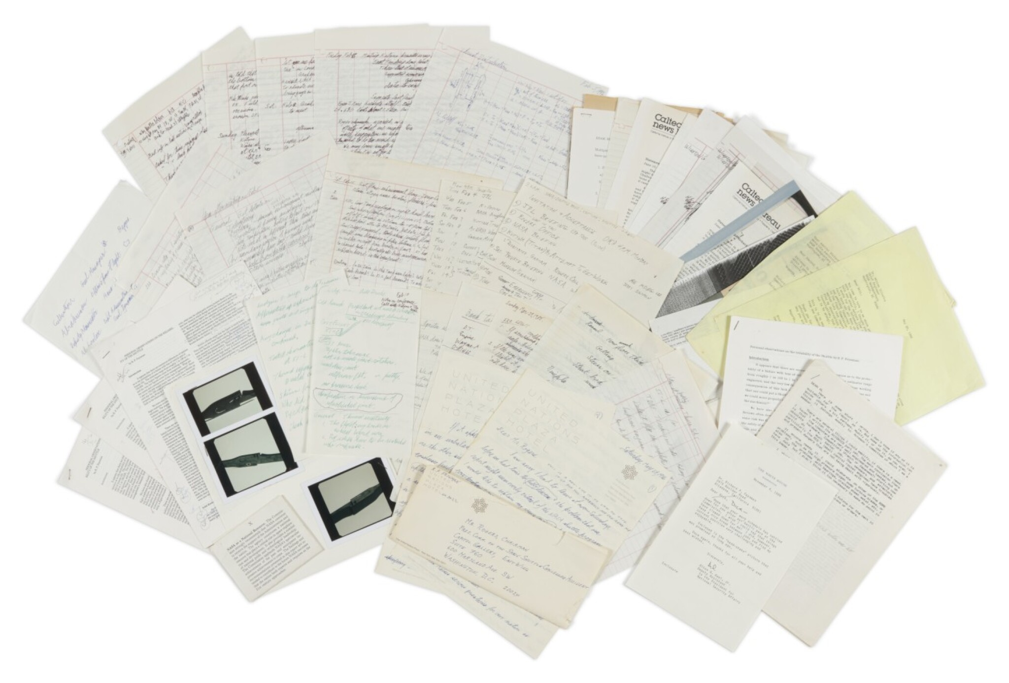 View full screen - View 1 of Lot 81. Richard Feynman's notes, letters, & et al from the Rogers Commission to Investigate the Challenger disaster, 1986..