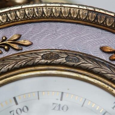View 4. Thumbnail of Lot 20. A Fabergé silver-gilt guilloché enamel and bowenite barometer, workmaster Henrik Wigström, St Petersburg, 1903.