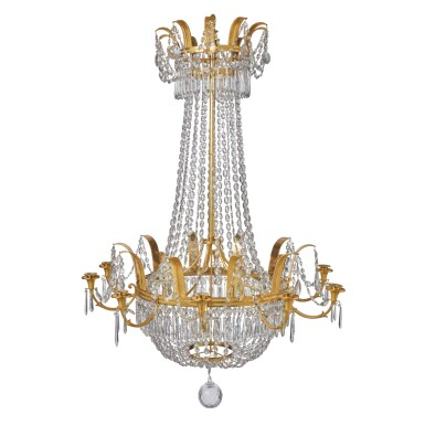 A FRENCH EMPIRE GILT BRONZE AND CUT CRYSTAL TEN-LIGHT CHANDELIER, CIRCA 1810
