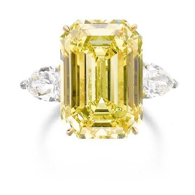 View 1. Thumbnail of Lot 347. IMPORTANT FANCY VIVID YELLOW DIAMOND RING.