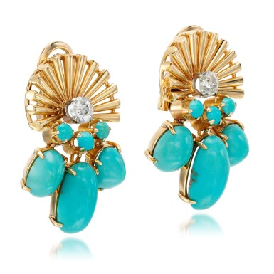 View 2. Thumbnail of Lot 85. Pair of turquoise and diamond ear clips, circa 1945.