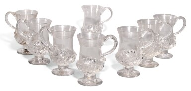 View 1. Thumbnail of Lot 81. A SET OF EIGHT FLUTED GLASS COIN MUGS, 19TH/20TH CENTURY.