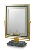 ROLEX | A RETAILER'S DISPLAY MIRROR WITH MARBLE STAND, CIRCA 1980
