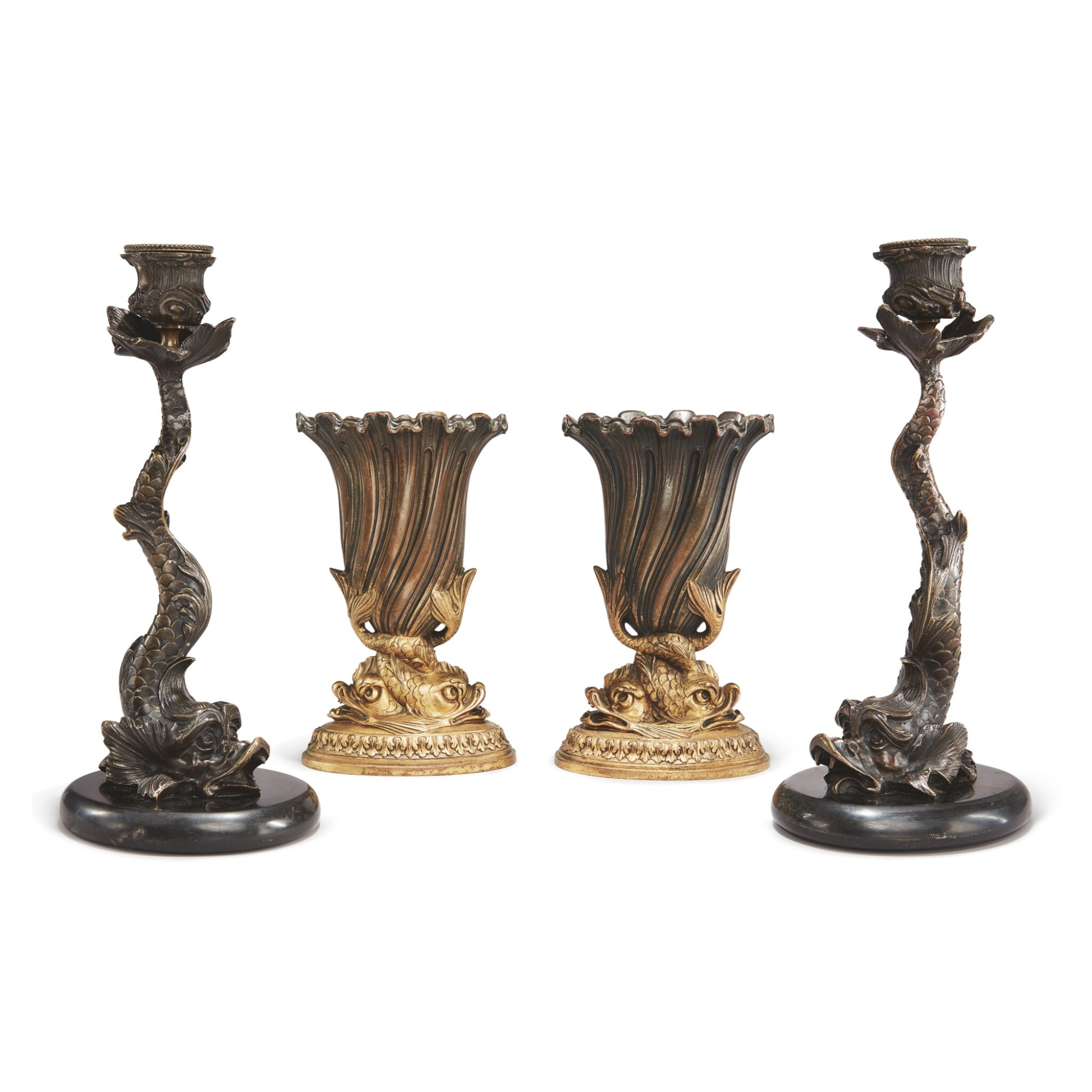View full screen - View 1 of Lot 91. A PAIR OF REGENCY STYLE CAST METAL DOLPHIN CANDLESTICKS ON MARBLE BASES, ALONG WITH A PAIR OF REGENCY STYLE GILT AND PATINATED BRONZE DOLPHIN VASES.