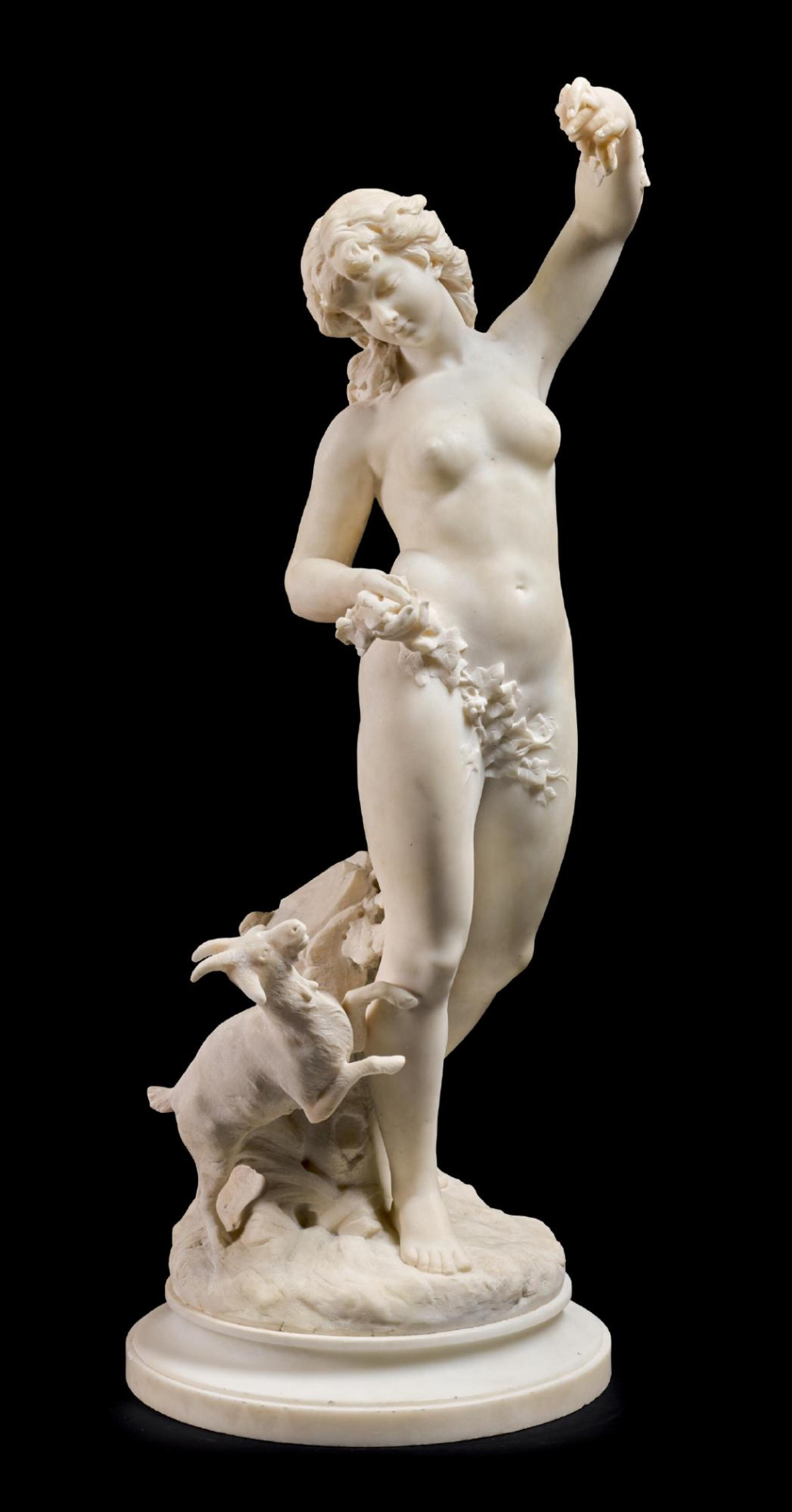 View 1 of Lot 50. LOUIS-ROBERT CARRIER-BELLEUSE   WOOD NYMPH WITH A GOAT.