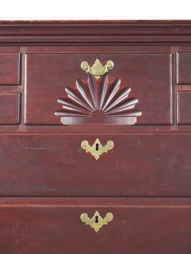 View 4. Thumbnail of Lot 1632. VERY FINE AND RARE QUEEN ANNE CARVED CHERRYWOOD HIGH CHEST OF DRAWERS, PROBABLY WETHERSFIELD, CONNECTICUT, POSSIBLY HARTFORD, CIRCA 1765.