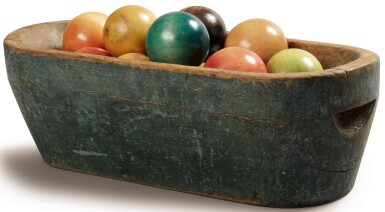 BLUE-PAINTED AND CARVED WALNUT BOWL, PROBABLY MAINE, CIRCA 1840