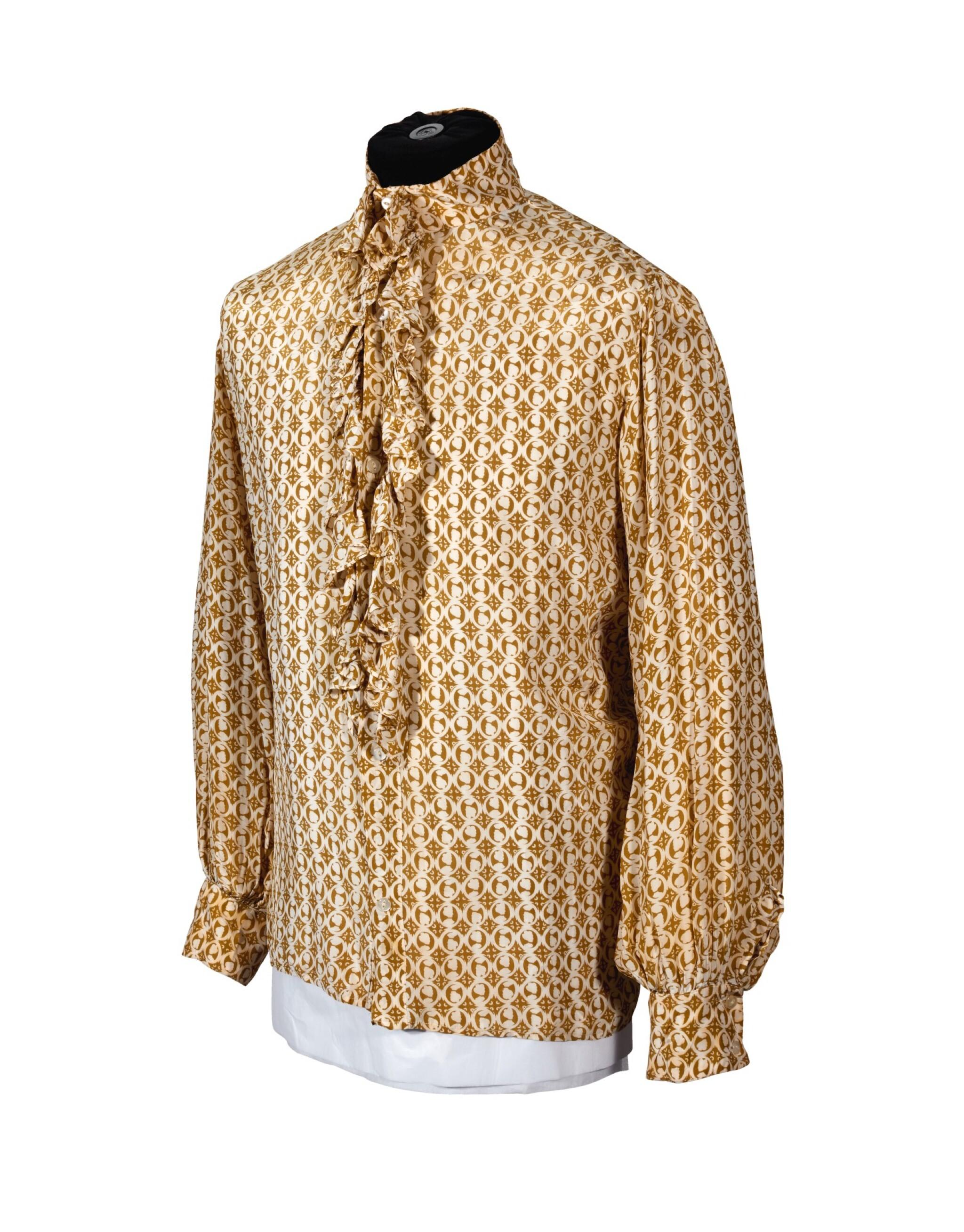 RINGO STARR   Green-gold and cream ruffle collar shirt, unlabelled