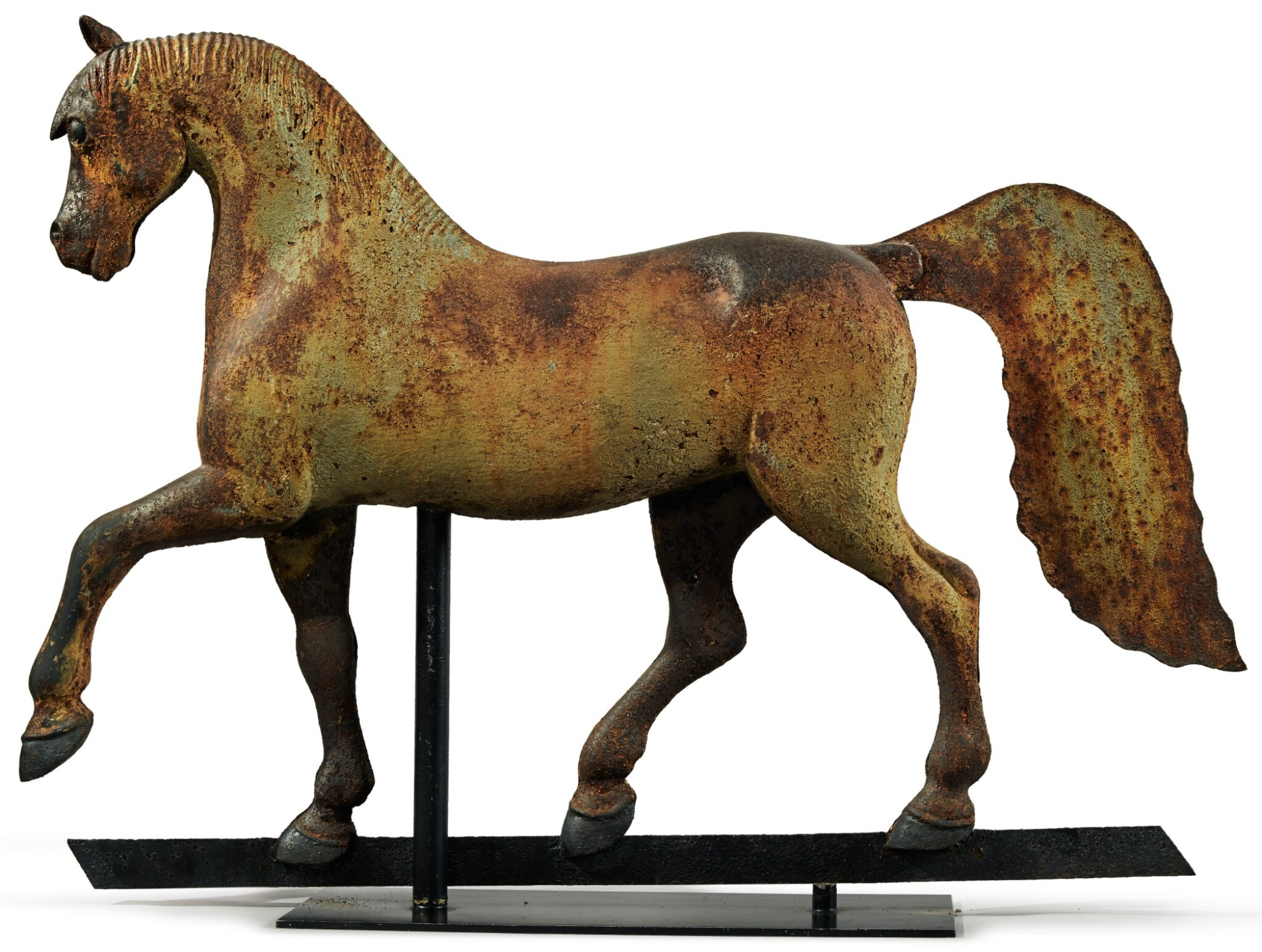 View full screen - View 1 of Lot 1429.  VERY FINE FULL-BODIED CAST-IRON FORMAL HORSE WEATHERVANE, CIRCA 1890.