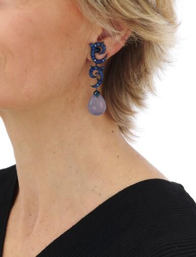 View 4. Thumbnail of Lot 138. Pair of sapphire and chalcedony earrings (Paio di orecchini in zaffiri e calcedonio).