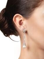 PAIR OF NATURAL PEARL AND DIAMOND PENDANT-EARRINGS | 天然珍珠配鑽石吊耳環一對
