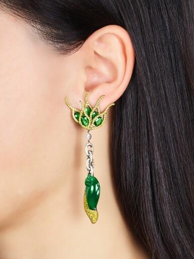 View 2. Thumbnail of Lot 1649. Wallace Chan | Pair of Jadeite, Tsavorite Garnet and Diamond Pendent Earrings | 陳世英 | 天然翡翠 配 沙弗來石 及 鑽石 耳墜一對.