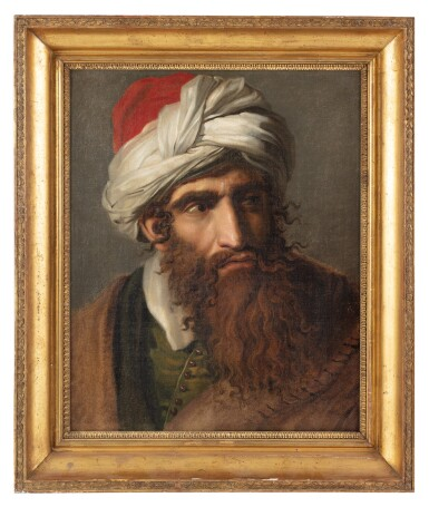 View 3. Thumbnail of Lot 109. PIERRE-NOLASQUE BERGERET  |  PORTRAIT OF A MAN IN A TURBAN, THREE-QUARTER PROFILE.