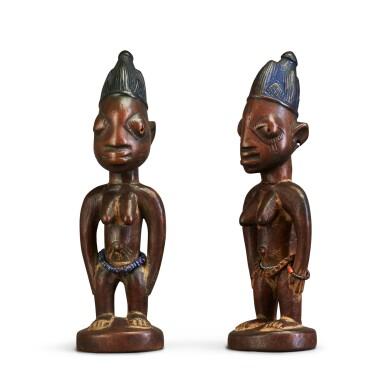 View 1. Thumbnail of Lot 151. Nigeria, Yoruba Peoples, circa 1900   Ere Ibeji Figures.