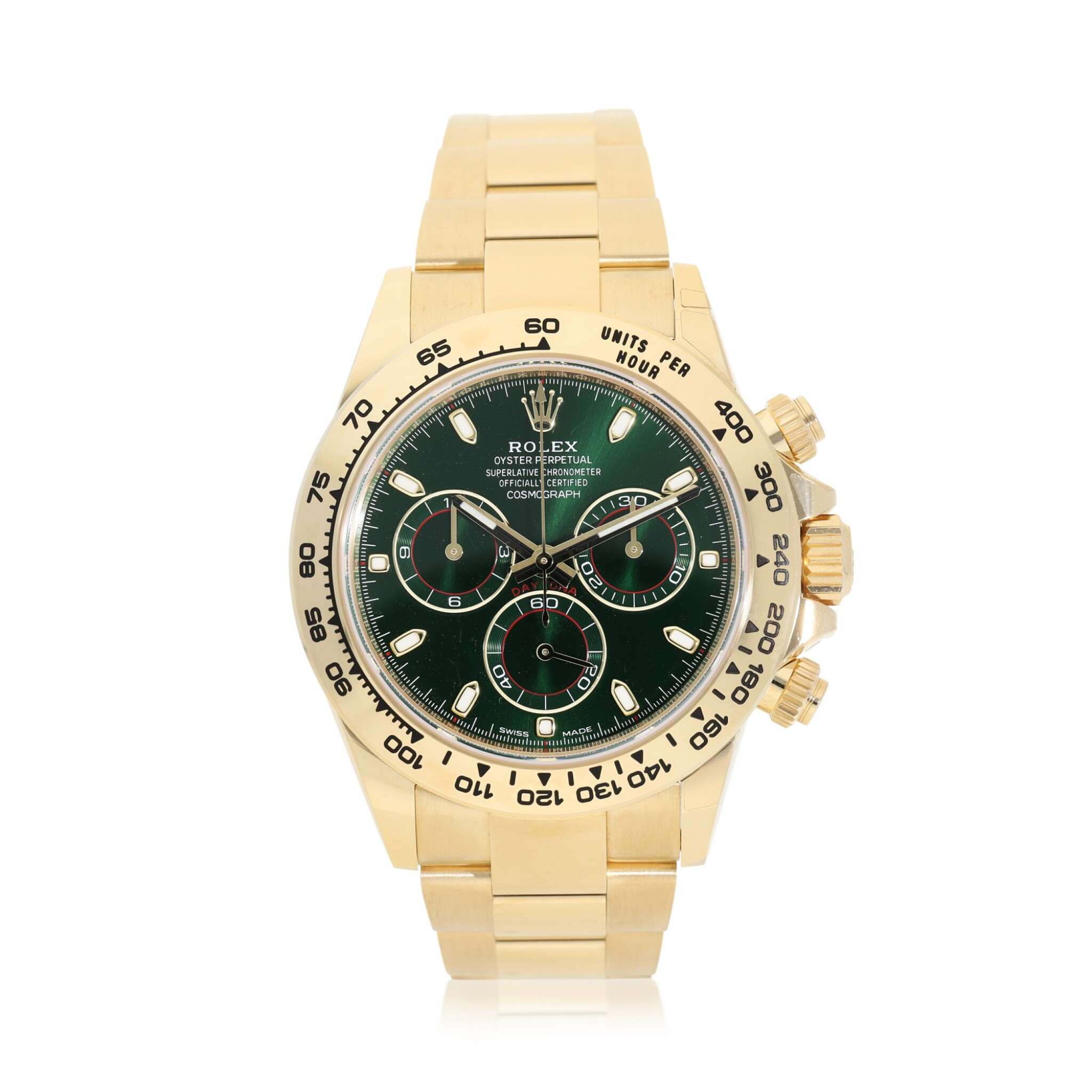 View full screen - View 1 of Lot 15. ROLEX | REFERENCE 116508 DAYTONA   A YELLOW GOLD AUTOMATIC CHRONOGRAPH WRISTWATCH WITH BRACELET, CIRCA 2019.